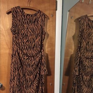SagHarbor petite tiger print mock wrap dress